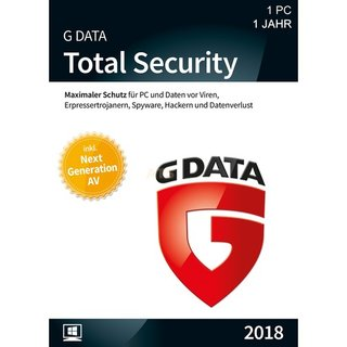 G Data Software Total Security 1 PC Vollversion EFS PKC 1 Jahr für aktuelle Version 2018