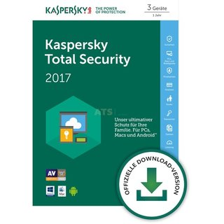 Kaspersky Total Security 3 Geräte Vollversion ESD 1 Jahr für aktuelle Version 2017
