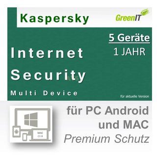Kaspersky Internet Security Multi Device 5 Geräte Vollversion GreenIT 1 Jahr für Version 2017