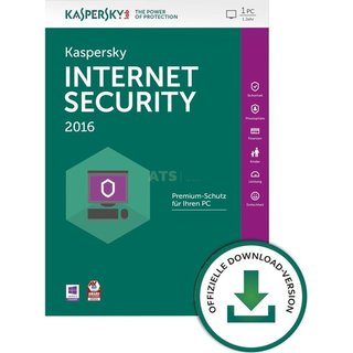 Kaspersky Internet Security 2016 1 PC Vollversion ESD 1 Jahr inkl. Update 2018* (Download)