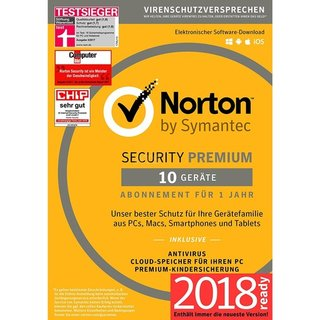 Symantec Norton Security Premium + 25GB Backup 10 Geräte Vollversion ESD 1 Jahr 2018