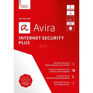 Avira Internet Security Plus 2018 1 Benutzer | 3 PC/Mac + 3 Android Vollversion ESD 1 Jahr ( Download )