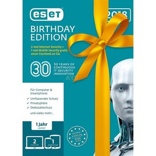 ESET Internet Security 2018 2 Computer + 1 Android Vollversion Lizenz 1 Jahr Birthday Edition ( Online Download )